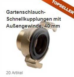 Gartenschlauch-Schnellkupplungen, 40 mm Klauenweite