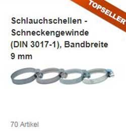 Schlauchschellen - Schneckengewinde (DIN 3017-1), Bandbreite 9 mm