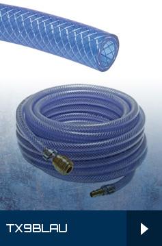 TX 9 BLAU - PVC-Schläuche mit Gewebeeinlage - komplett mit Kupplungsdose - Meterware