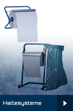 Haltesysteme, Wandhalter, Bodenständer für Industrierollen und Papiertücher